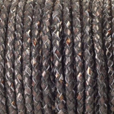Lederband rund geflochten, 100cm, 5mm, KUPFERBRAUN meliert