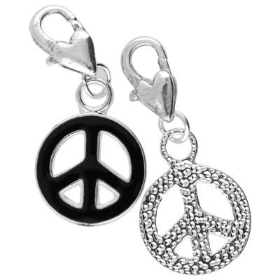 Anhänger mit Karabiner, Peace, 33x15mm, schwarz & silberfarben, Metall & Emaille,