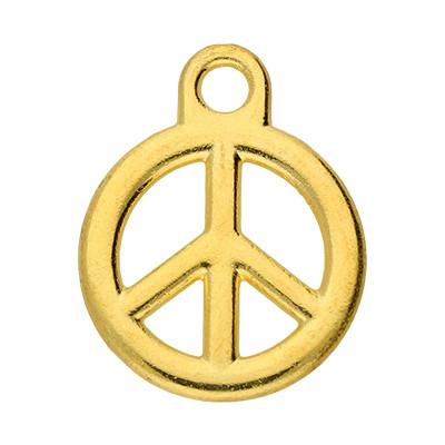 Anhänger, Peace, 23x18mm, goldfarben, Metall