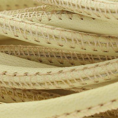 Nappaleder rund gesäumt, 100cm, 6mm, VANILLE-CREME