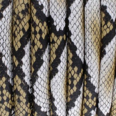Kunstleder rund gesäumt (100cm), 6,00mm breit - CREME-BEIGE Schlangenprägung