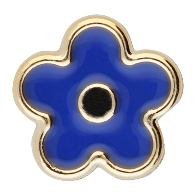 Großlochperle, Blume, innen 5mm, 17x7,5mm, roségoldfarben-blau, Acryl