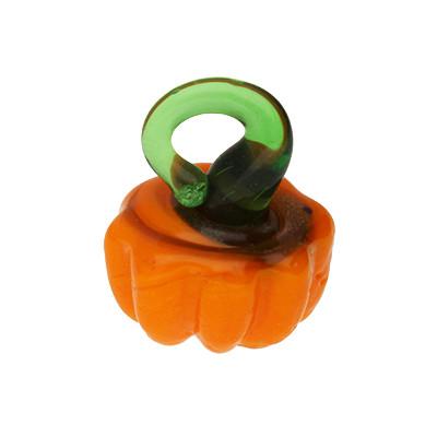 Anhänger, Kürbis, 12x14mm, orange, Glas