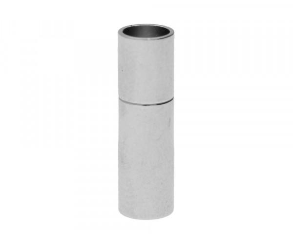 Steckverschluss, 17x5mm, innen 4mm, Metall, silberfarben