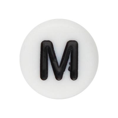 Acrylbuchstabe M (10 Stück), innen 1mm, 7x4mm, schwarz-weiß