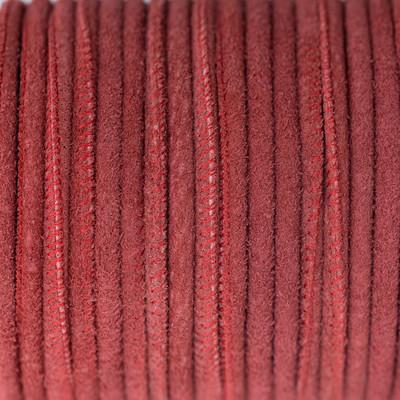Veloursleder rund gesäumt, 100cm, 4mm, ROT