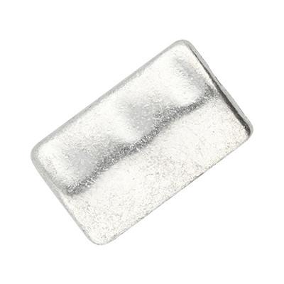 Perlen (2 Stück), länglich, innen 1,5mm, 17x10x3mm, silberfarben, Metall