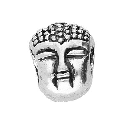 """Großlochperle """"Buddha"""", innen 4.5mm, 11x9mm, antik silberfarben, Metall"""