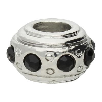 Großlochperle mit Straßsteinen, schwarz, innen 4,5mm, 11x6,5mm, silberfarben, Metall