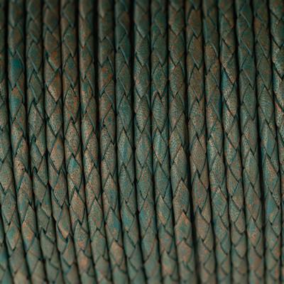 Lederband rund geflochten, 100cm, 4mm, PATINA multicolor