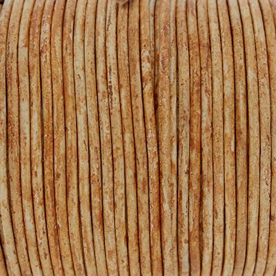 Rundriemen, Lederschnur, 100cm, 2mm, COGNAC MELIERT