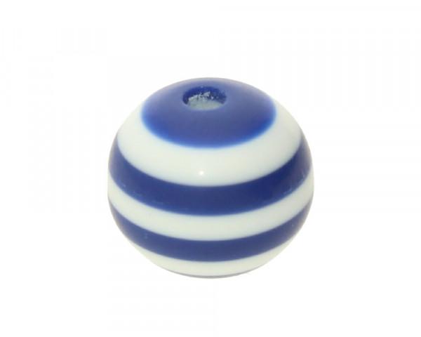 Perle,10x9mm, innen 1,8mm, blau-weiss, Acryl