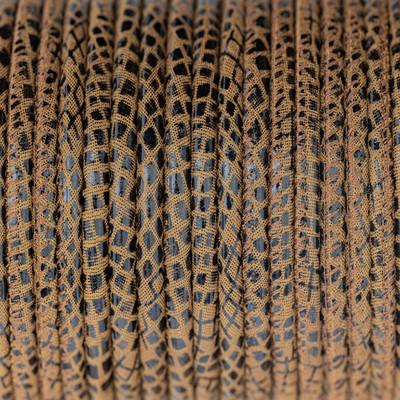 Nappaleder rund gesäumt, 100cm, 4mm, Fischprägung CAMEL