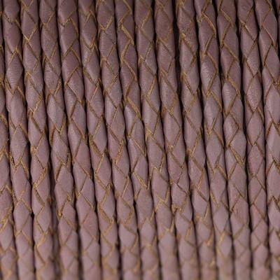 Lederband rund geflochten, 100cm, 4mm, ROSÈ TAUPE