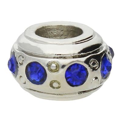 Großlochperle mit Straßsteinen, blau, innen 4,5mm, 11x6,5mm, silberfarben, Metall