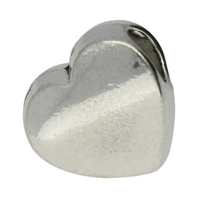 Grosslochperle, Herz, innen 4,5mm, 10,5x10,5x7mm, silberfarben, Metall