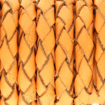 Lederband rund geflochten, 100cm, 4mm, APRICOT mit Naturkanten