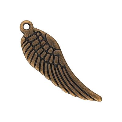 Anhänger, Flügel, 30x9x1,5mm, kupferfarben, Metall