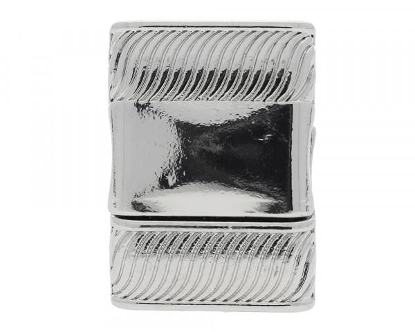 Magnetverschluss, innen 15x3mm, 25,5x18x6mm, platinfarben, Metall