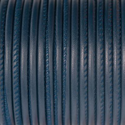 Premium Nappaleder rund gesäumt, 100cm, 4mm, BLAU
