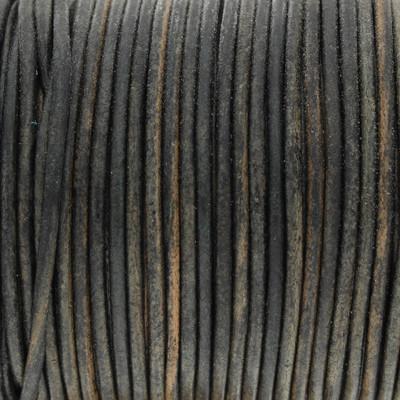 Rundriemen, Lederschnur, 100cm, 2mm, SCHWARZGRAU VINTAGE