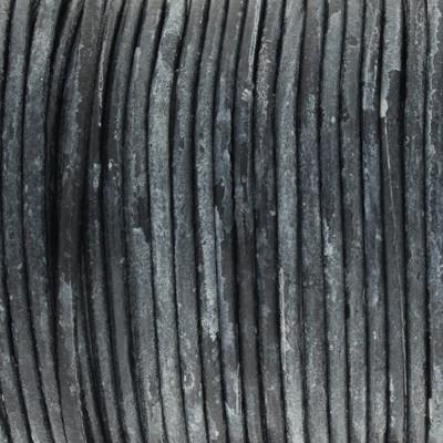Rundriemen, Lederschnur, 100cm, 2mm, SCHWARZ GRAU meliert