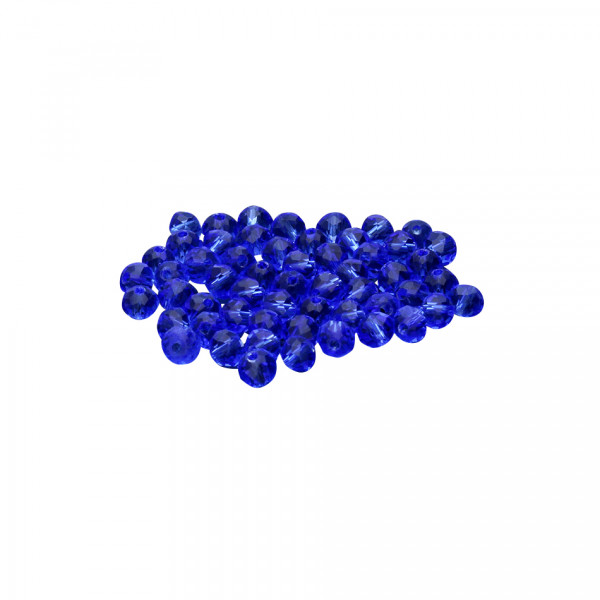 Glasperlen (5 Stück), innen 1mm, 4x3mm, faciert, BLAU