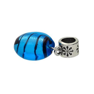 Charm, innen 5mm, 27mm, blaues Glas mit Silberfolie, Metall