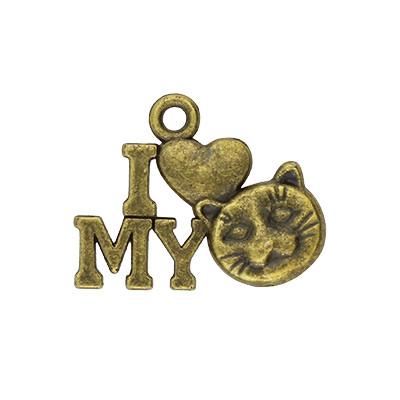 Anhänger, I love my Cat, 17x13x2mm, bronzefarben, Metall