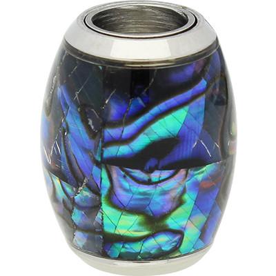 Magnetverschluss, 6mm, 16x12mm, Edelstahl, echte Muschel, blau changierend