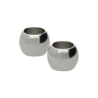 Perle ( 2 Stück), 4x3mm, innen 2,3mm, Edelstahl