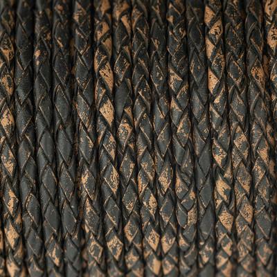 Lederband rund geflochten, 100cm, 4mm, KAFFEEBRAUN meliert