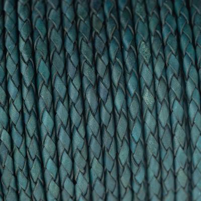 Lederband rund geflochten, 100cm, 4mm, PETROL Vintage