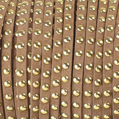 Textilband in Wildlederoptik mit goldfarbenen Nieten, 6,0x2,5mm - CAPPUCCINO