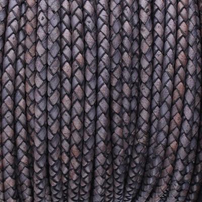 Premium Lederband rund geflochten, 100cm, 3mm, GRAU MELIERT