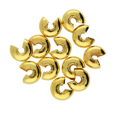 Quetschperle (10 Stk.), ca. 5 mm breit, Loch Ø 1.5~1.8 mm, goldfarben, Metall