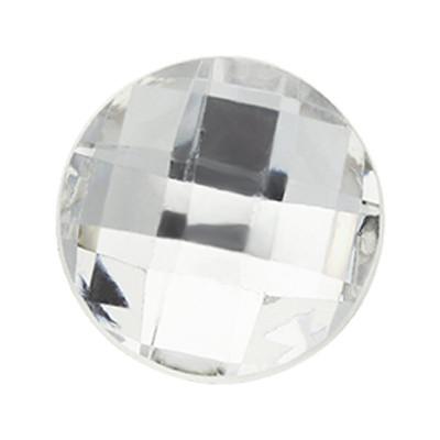 Cabochon, rund, 5 Stück, 16x5mm, kristall, glatte Rückseite