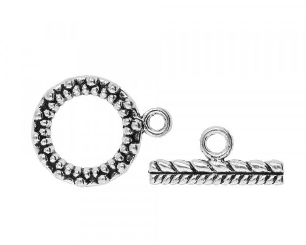 Knebelverschluss mit Vezierung, Ring 20x7mm, Steg 19x3,5x2mm, Ösen 2mm, antik-silberfarben, Metall