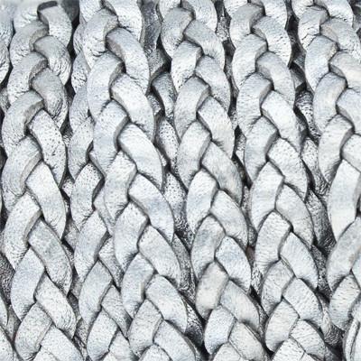 Lederband flach geflochten, 100cm, ca. 5x2,7mm, METALLIC ANTHRAZIT