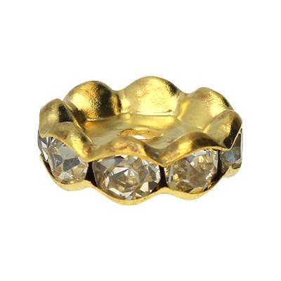 Perle, innen 2,5mm, 8,5x11mm, goldfarben, Metall
