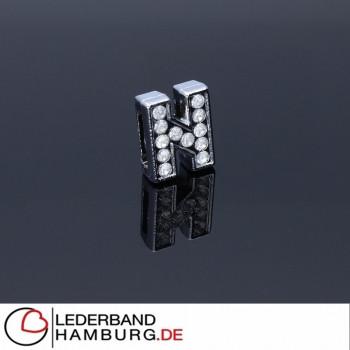 Slidercharm, Buchstabe N, 12x13x4, innen 8x2mm, silberfarben, Metall