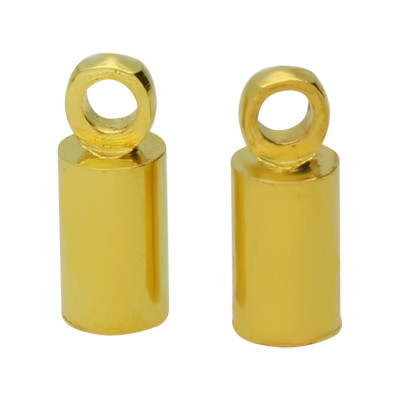 Endkappe mit Öse (2 Stück), 8x3,5mm, Loch-Ø 3,0mm, Metall, goldfarben