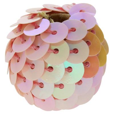Perle, innen 3mm, Ø 20mm, roségoldfarben, Pailletten