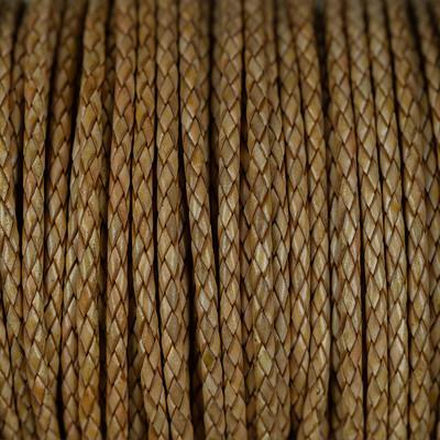 Premium Lederband rund geflochten, 100cm, 3mm, NATUR MELIERT