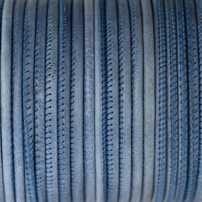 Nappaleder rund gesäumt, 100cm, 4mm, VINTAGE BLAU
