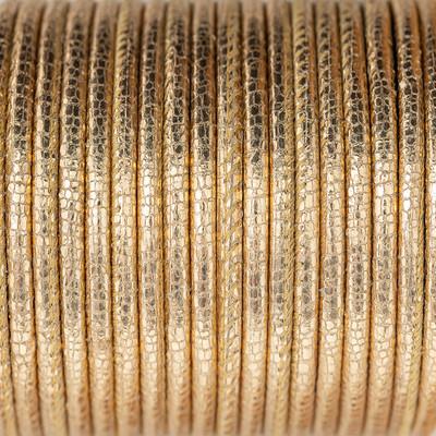Nappaleder rund gesäumt, 100cm, 4mm, METALLIC ROSÉ GOLD mit Reptilprägung