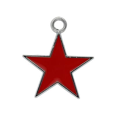 Anhänger, Stern, 24x20mm, rot, Metall