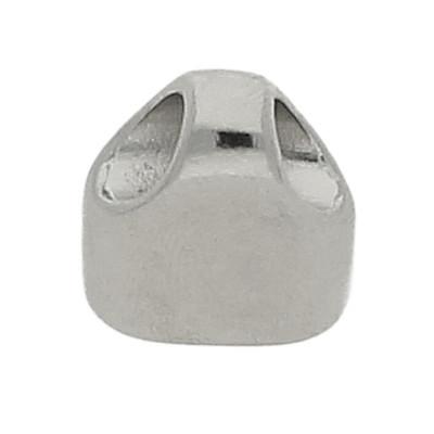 Schmuckkappe, ZAMAK, 17x15x8 mm, innen 6x12 mm, silber glänzend
