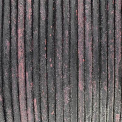 Rundriemen, Lederschnur, 100cm, 2mm, DISTRESSED PINK