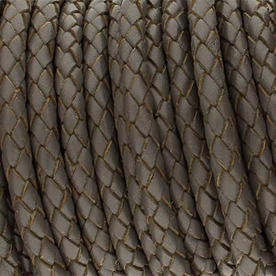 Premium Lederband rund geflochten, 100cm, 5mm, DUNKELGRAU